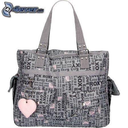 handbag, heart, text