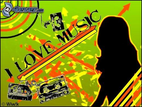 I Love Music, love, music, woman silhouette, collage, cassette