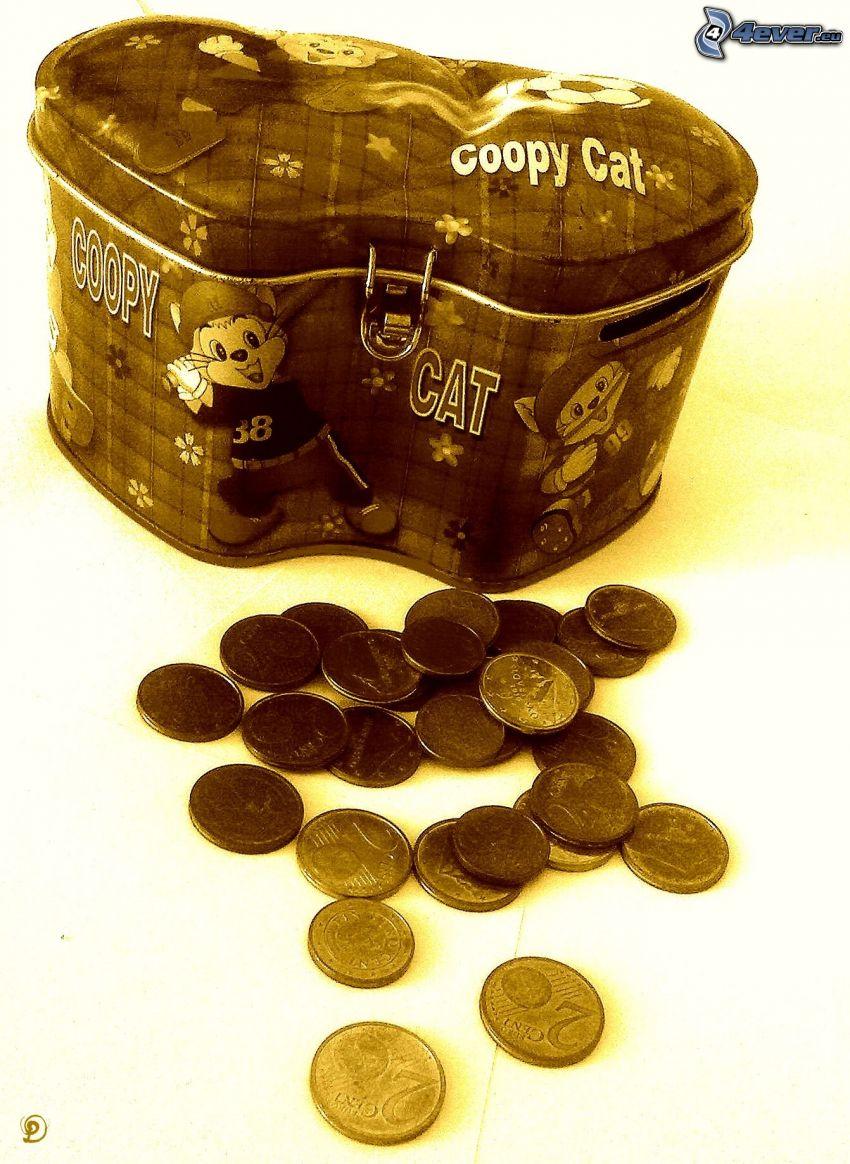 moneybox, euro coins