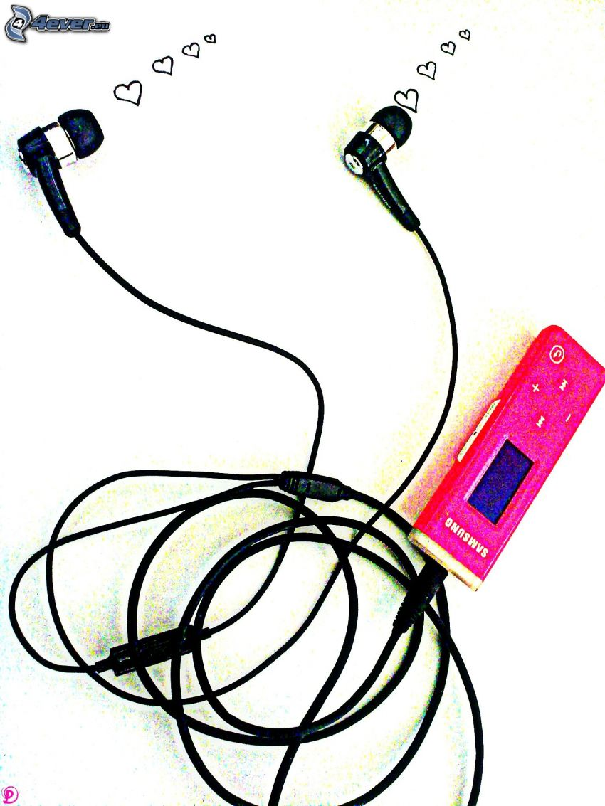 mp3 player, headphones, hearts, music