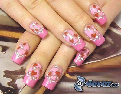 nails, cosmetics, hearts
