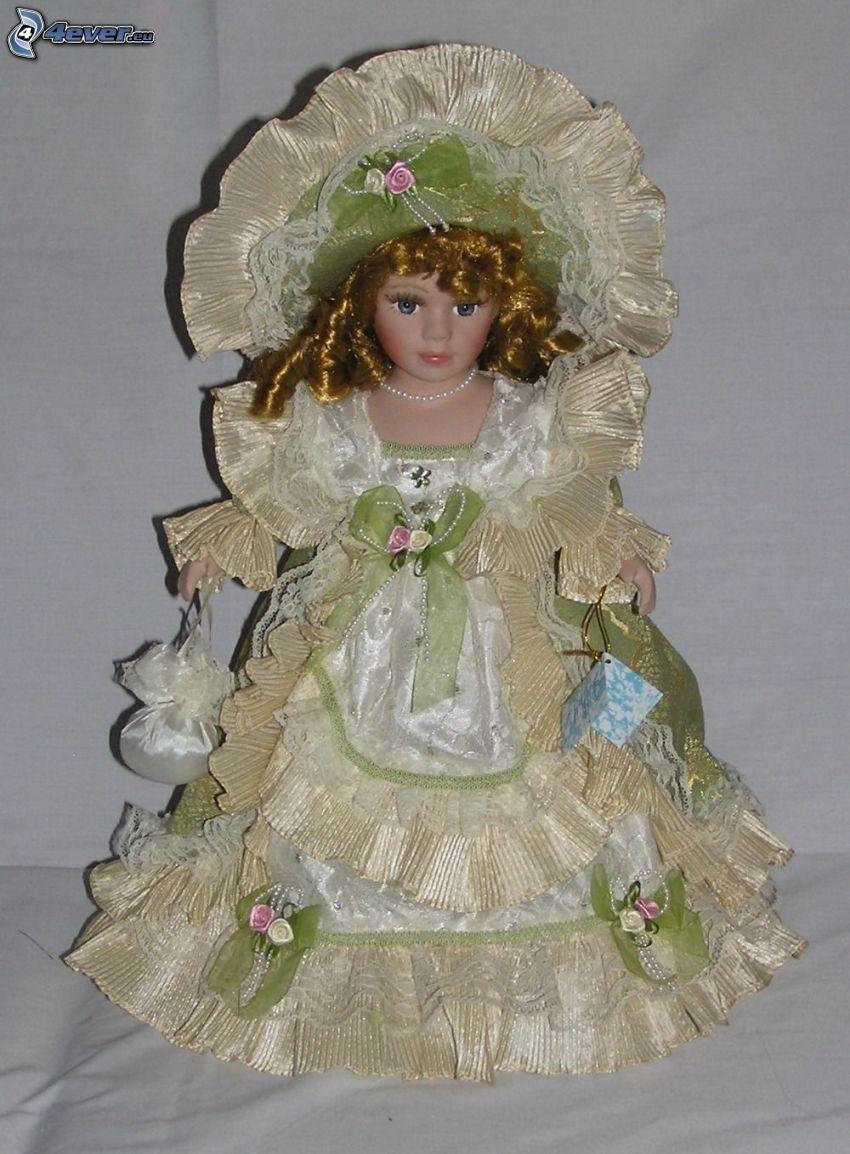 porcelain doll, dress, hat