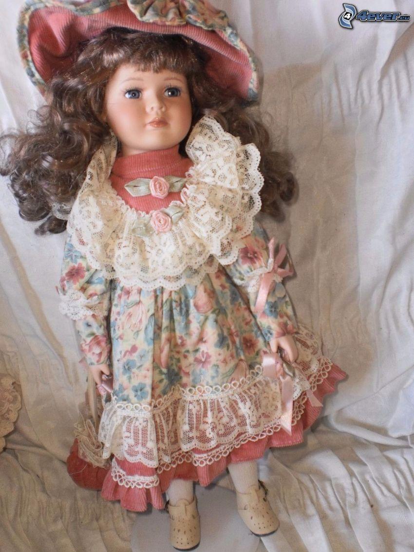 porcelain doll, flowered dress