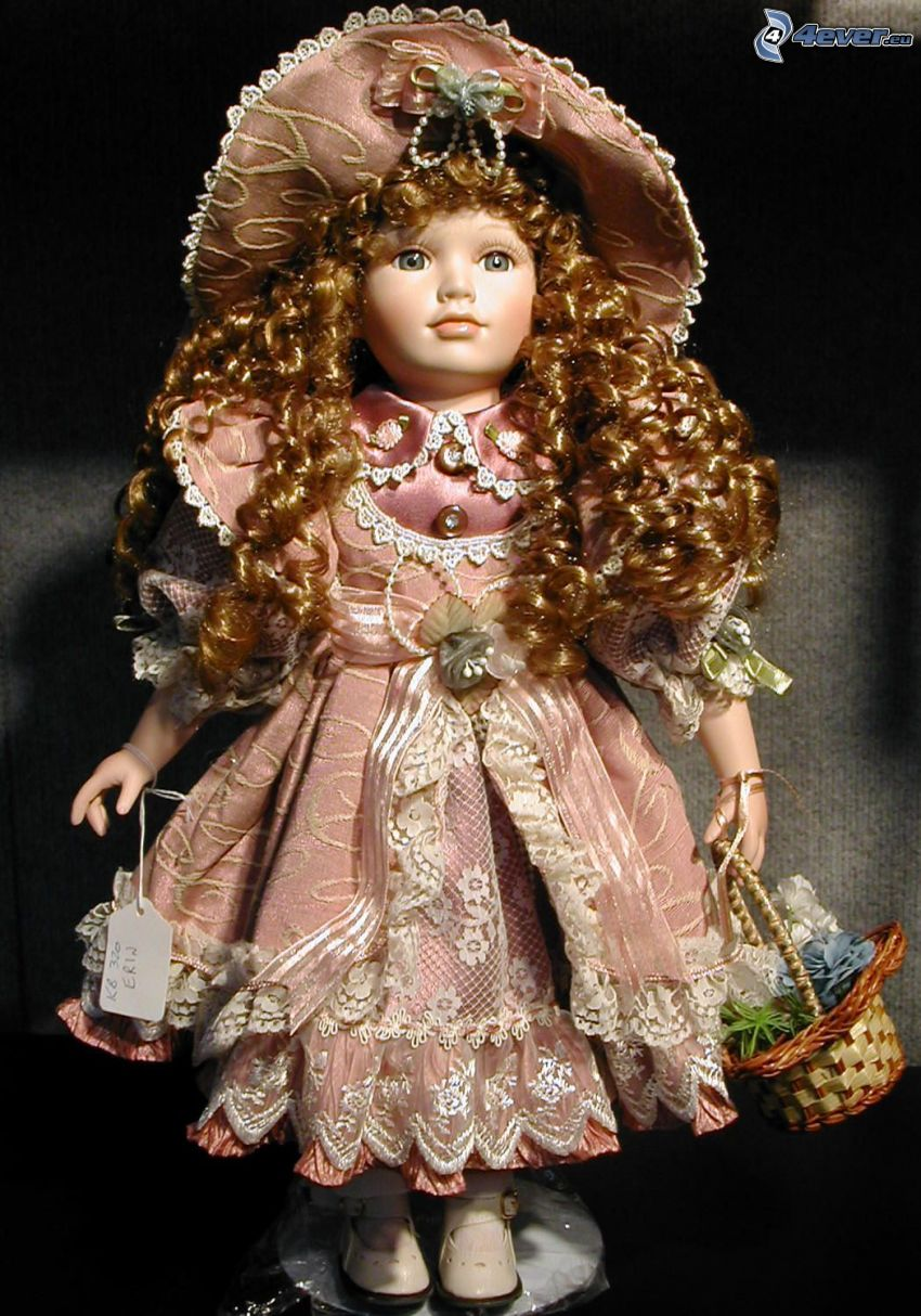 porcelain doll, pink dress, hat, curly hair