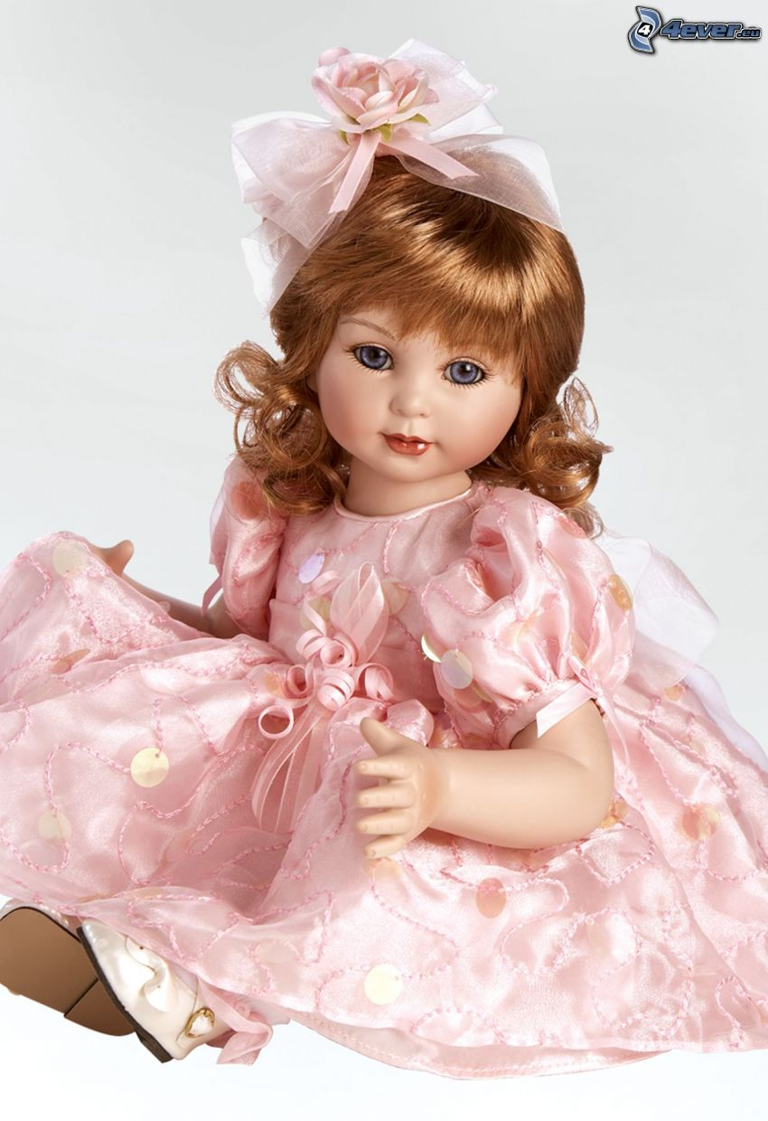 porcelain doll, pink dress
