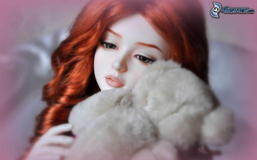 porcelain doll, teddy bear, redhead