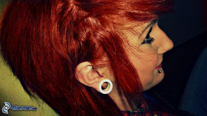 red hair, girl, tunnel in ear, piercing