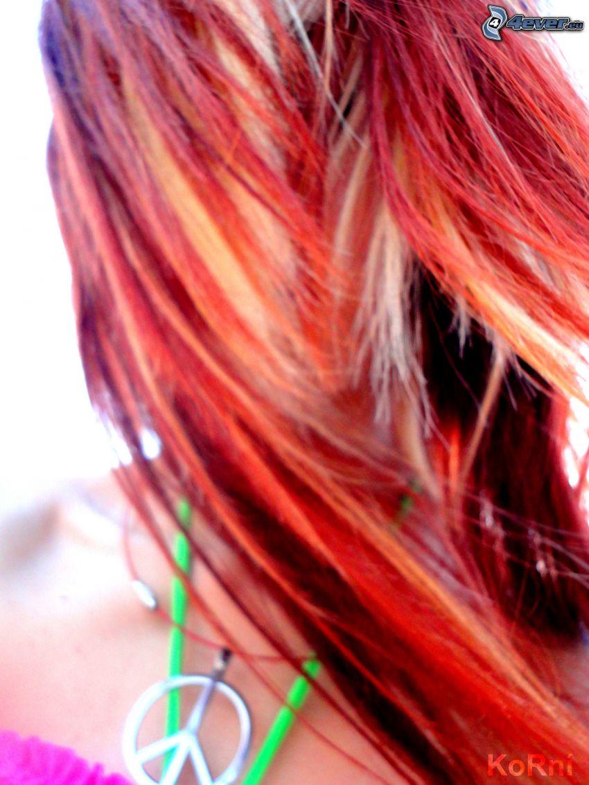 redhead, peace, bracelet