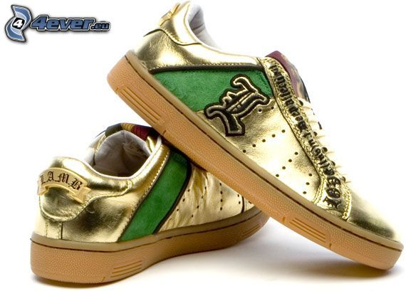 sneakers, gold
