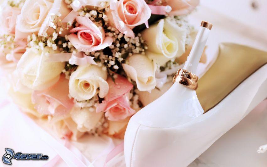 wedding bouquet, bouquet of roses, heel, wedding rings