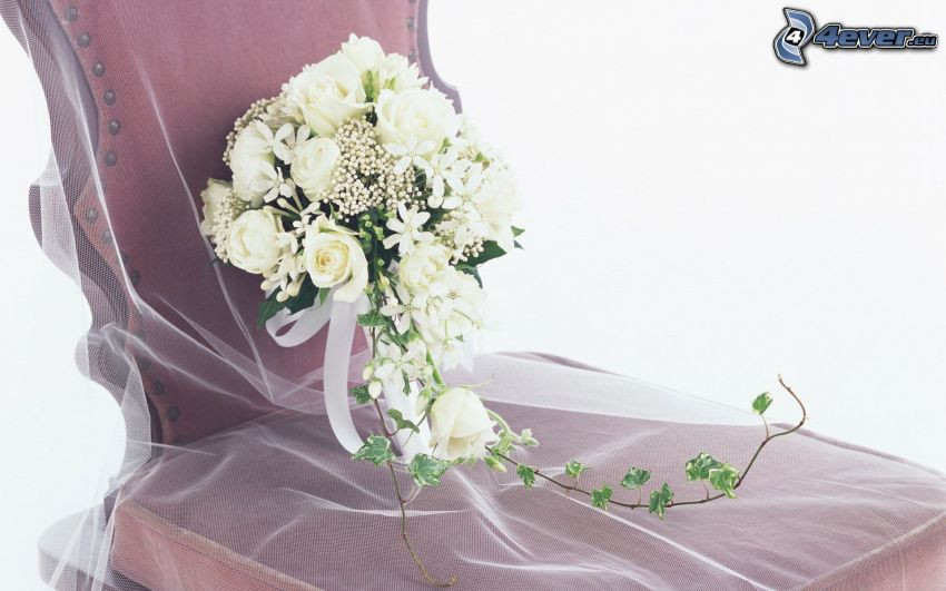 wedding bouquet, white roses, chair