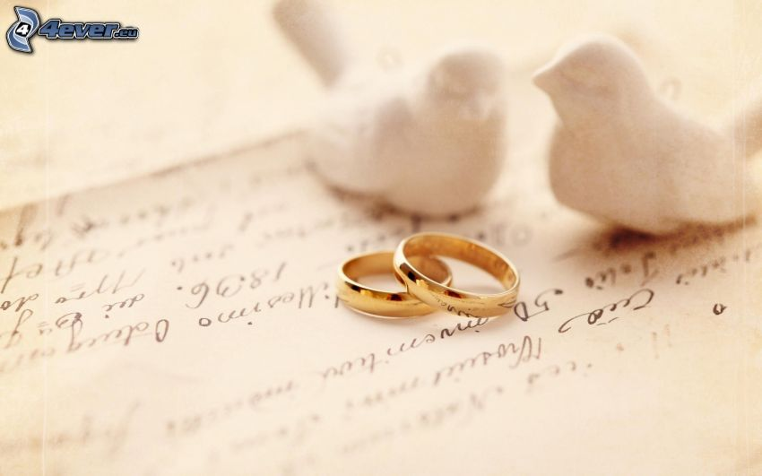 wedding rings, doves, text
