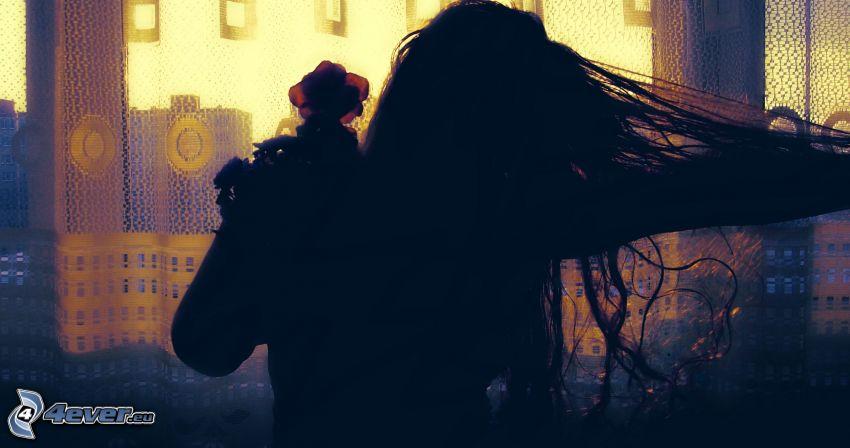 woman silhouette, flower, girl, hair, city, flying hair