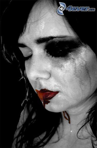 women cry, pain, sadness, monocle