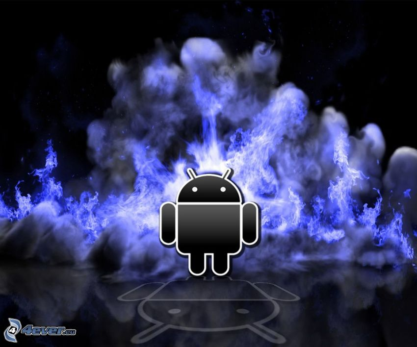 Android, fire, smoke
