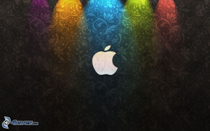 Apple, black background, colored lights