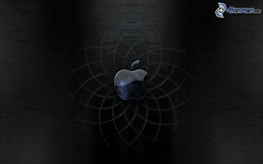 Apple, black background
