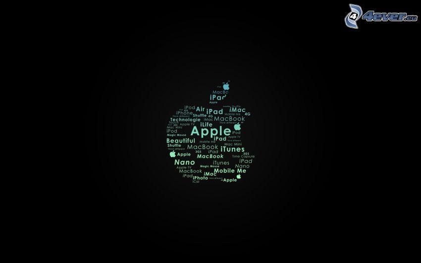 Apple, black background