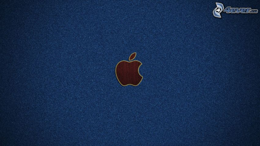 Apple, blue background