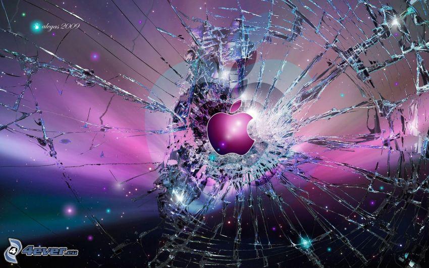 Apple, broken glass