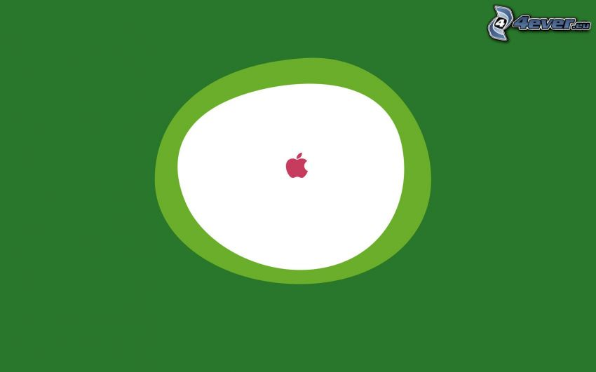 Apple, circles, green background