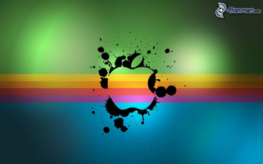 Apple, logo, blots, colored stripes