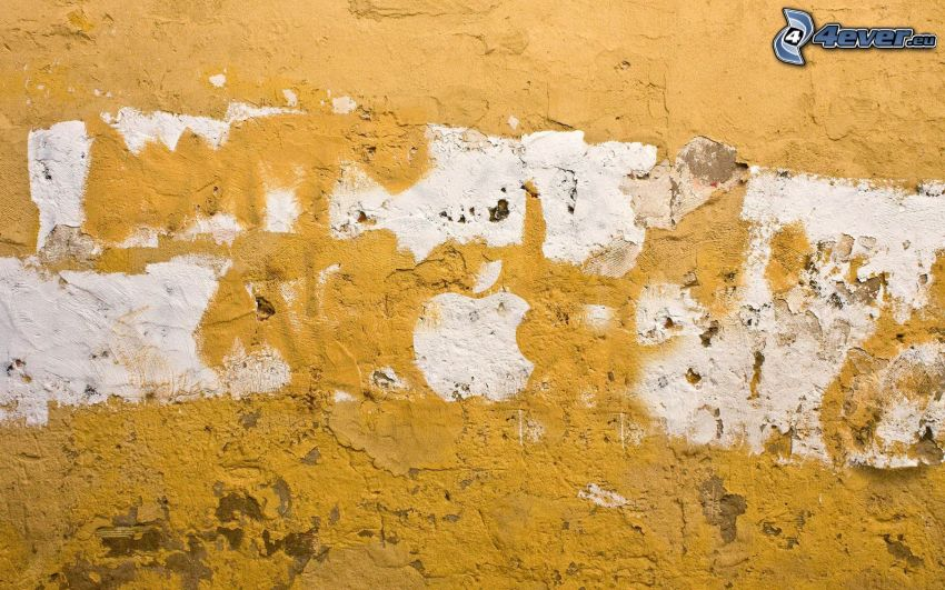 Apple, old wall