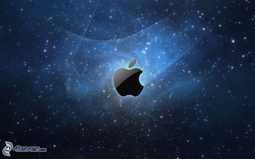 Apple, universe, starry sky