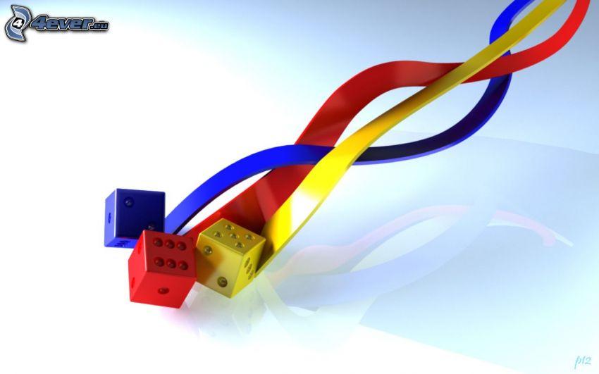 cubes, colored stripes