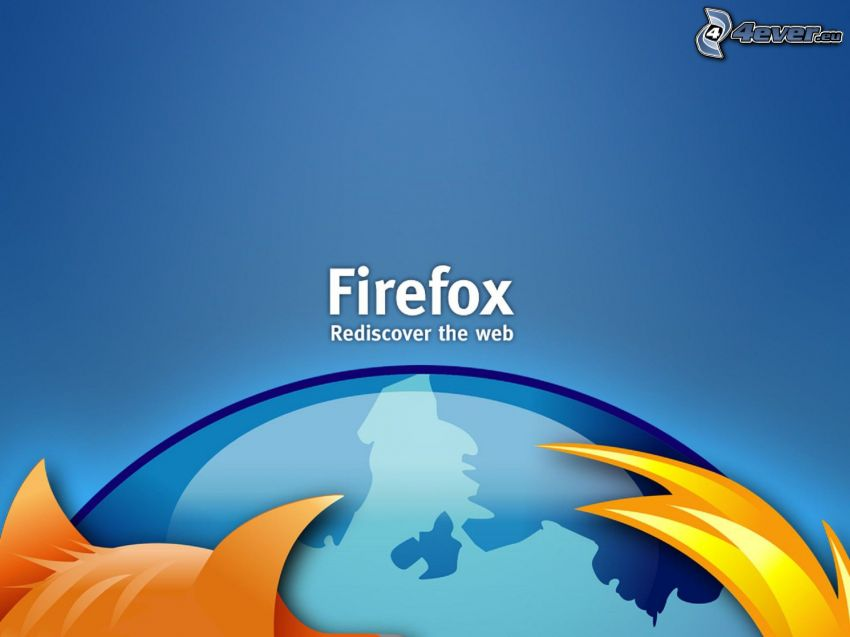 Firefox, blue background