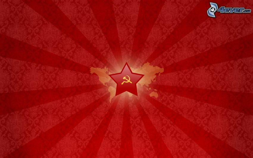 hammer and sickle, star