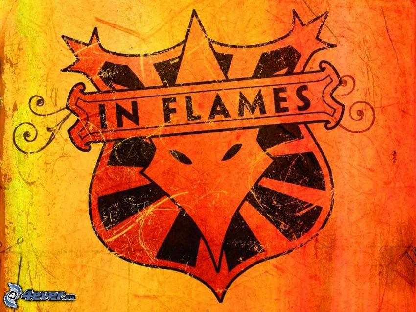 in flames, emblem