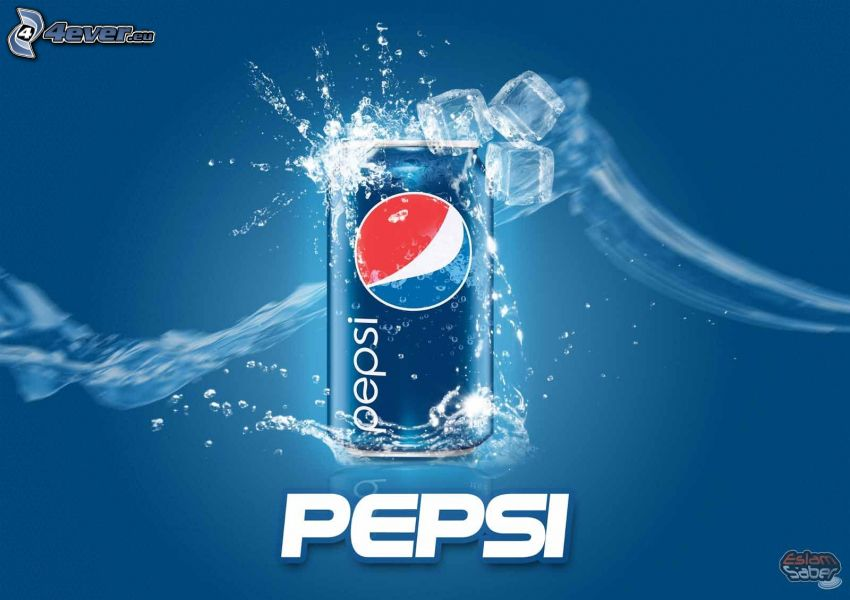 Pepsi, can, ice cubes