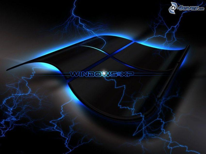 Windows XP, logo, lightning