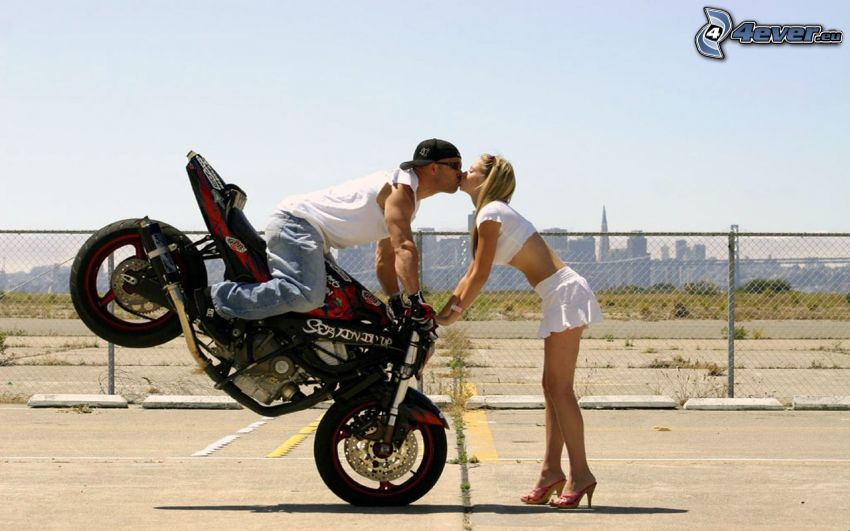 acrobatic kiss, motocycle, love, couple