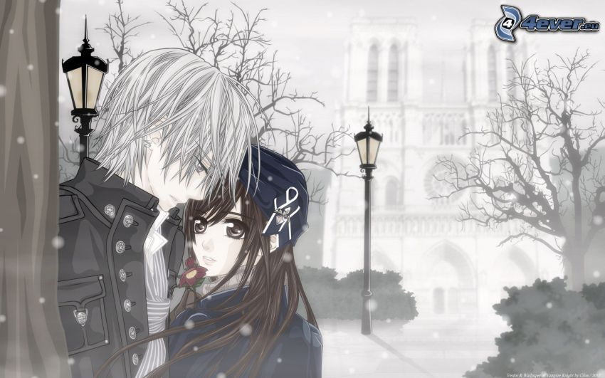 anime couple, cartoon couple, snowfall, street lamp, church