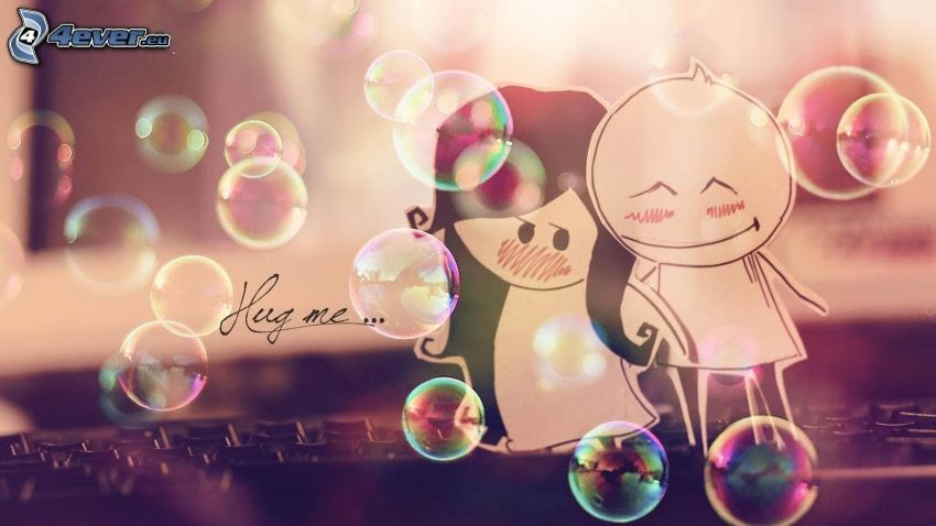 cartoon couple, colored bubbles, hug me