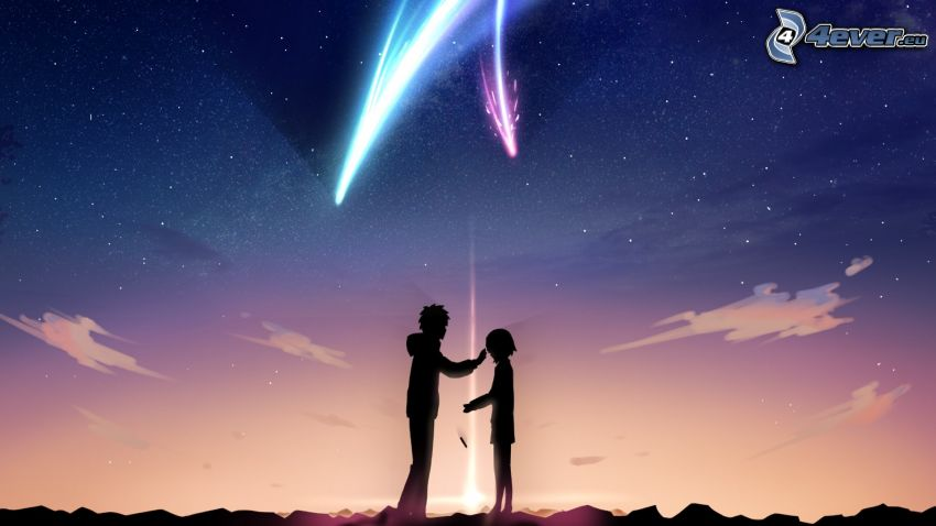 cartoon couple, comet, night sky