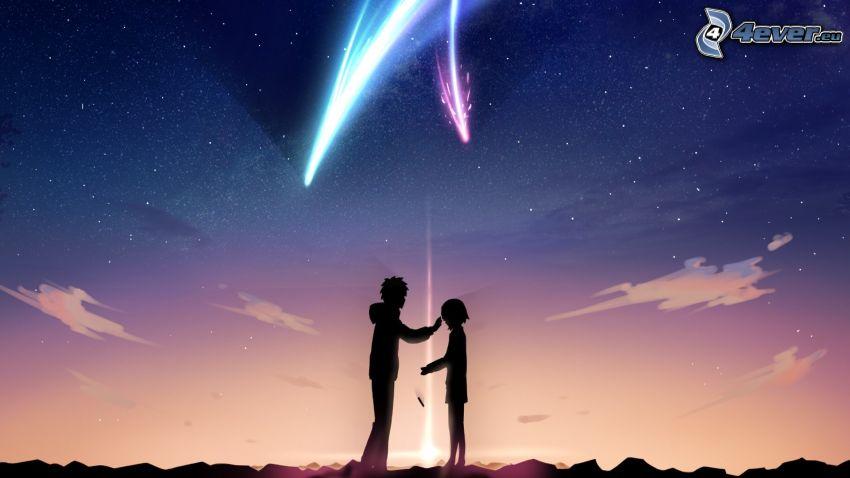 cartoon couple, comet, night sky