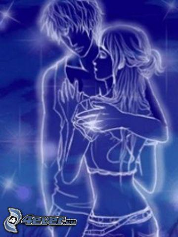cartoon couple, gentle embrace