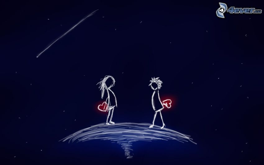 cartoon couple, hearts, comet