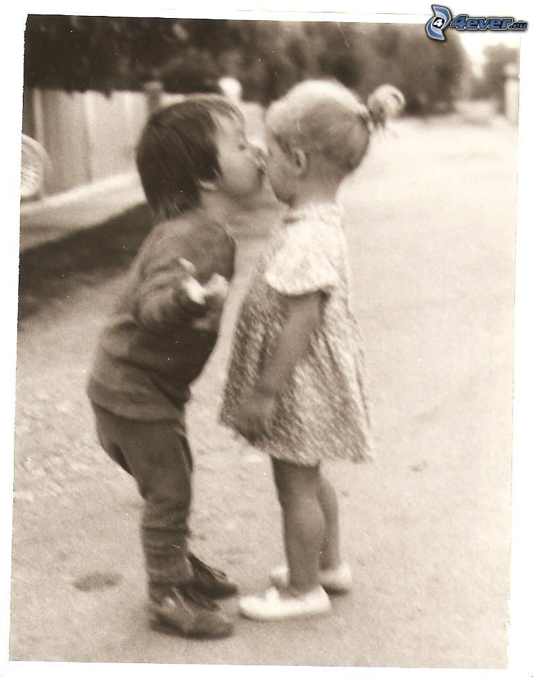 children kiss, children, black and white photo
