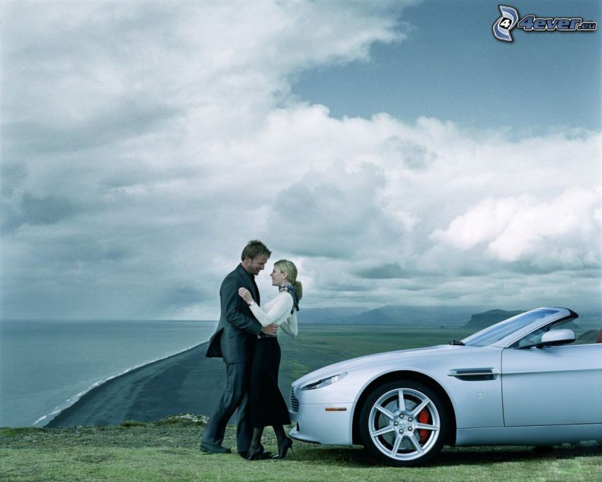 couple, Aston Martin, convertible, the view of the sea