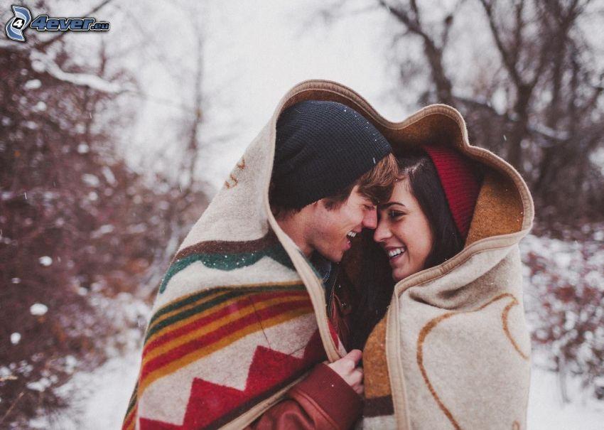 couple, blanket, snowfall