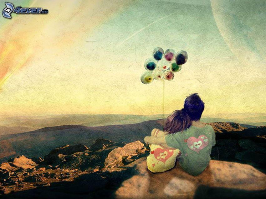 couple, hug, balloons, cartoon