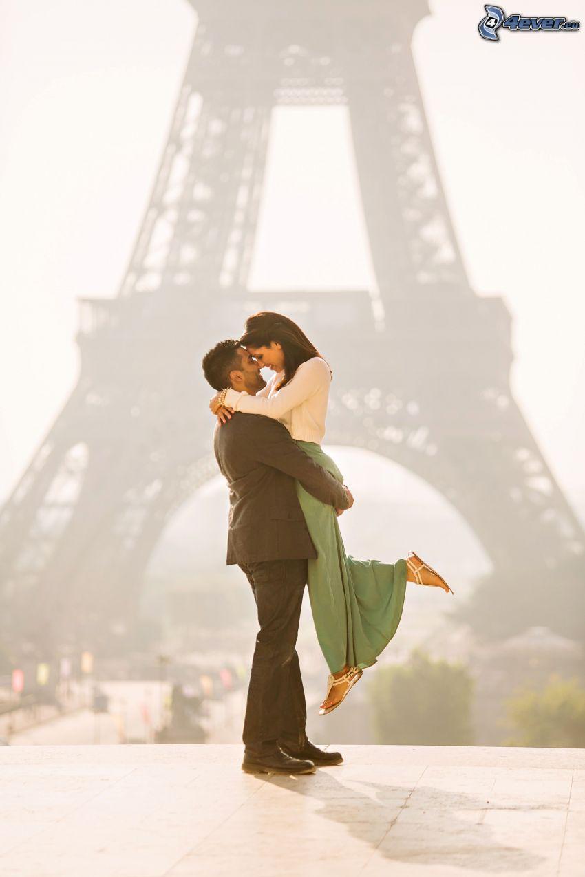 couple, hug, Eiffel Tower