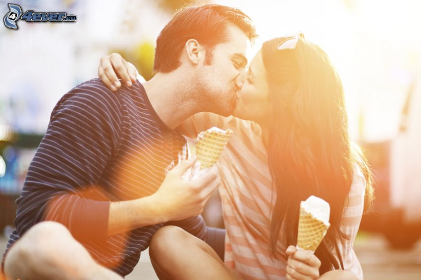 couple, kiss, ice cream