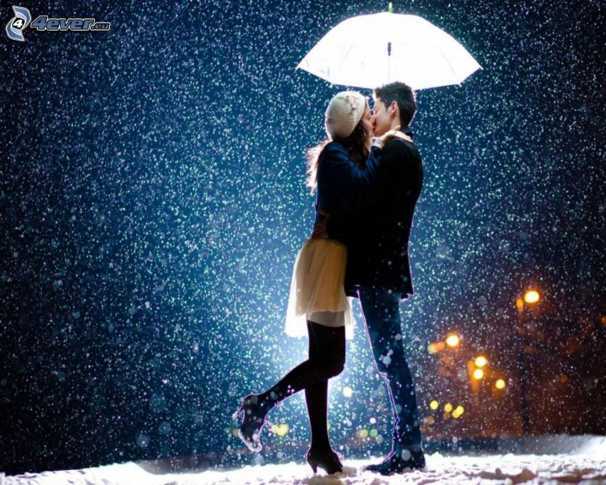 couple, kiss, snowfall, umbrella