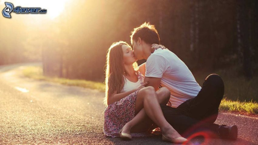 couple, mouth, road, forest, sun