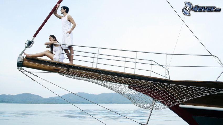 couple, ship, mountain